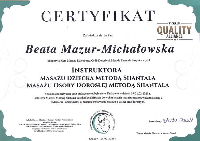 certyfikat masaż SHANTALA